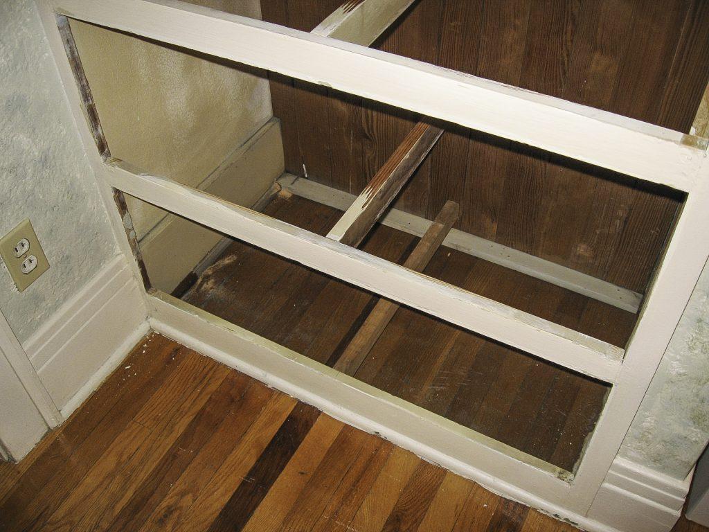 Original floor beneath built in