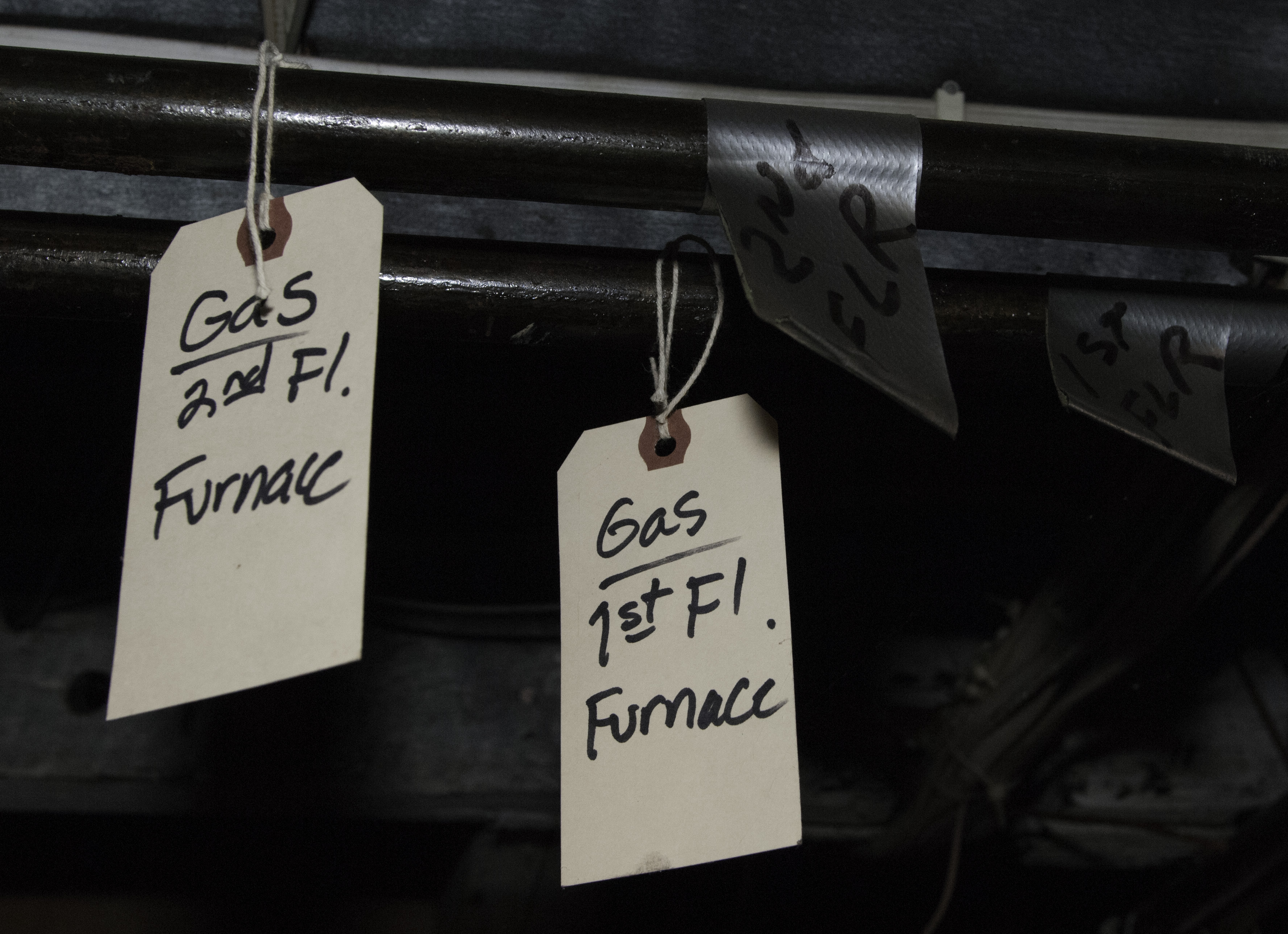 Tags on gas furnace pipes
