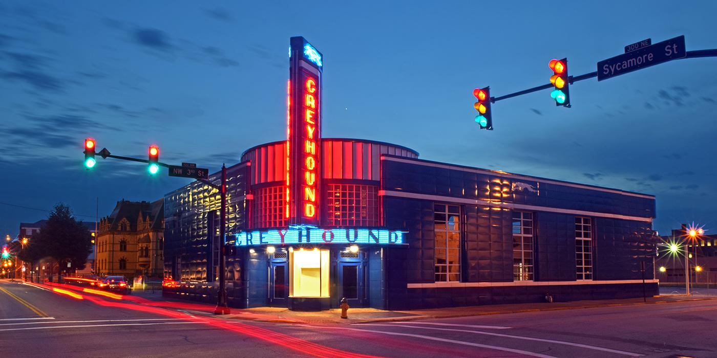 Evansville - Greyhound Station at night by Lee Lewellen