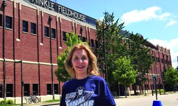 Lori Efroymson-Aguilera won the inaugural Williamson Prize for her support in saving historic buildings throughout the state, including a major gift for restoration of Indianapolis's Hinkle Fieldhouse (Photo: Sergio Aguilera)
