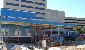 Bru Burger construction at Evansville Greyhound Station
