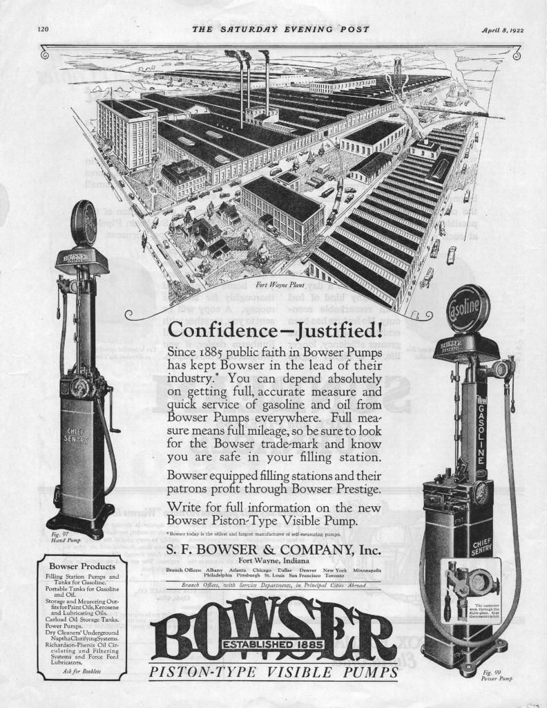 Bowser Pump Ad 1922