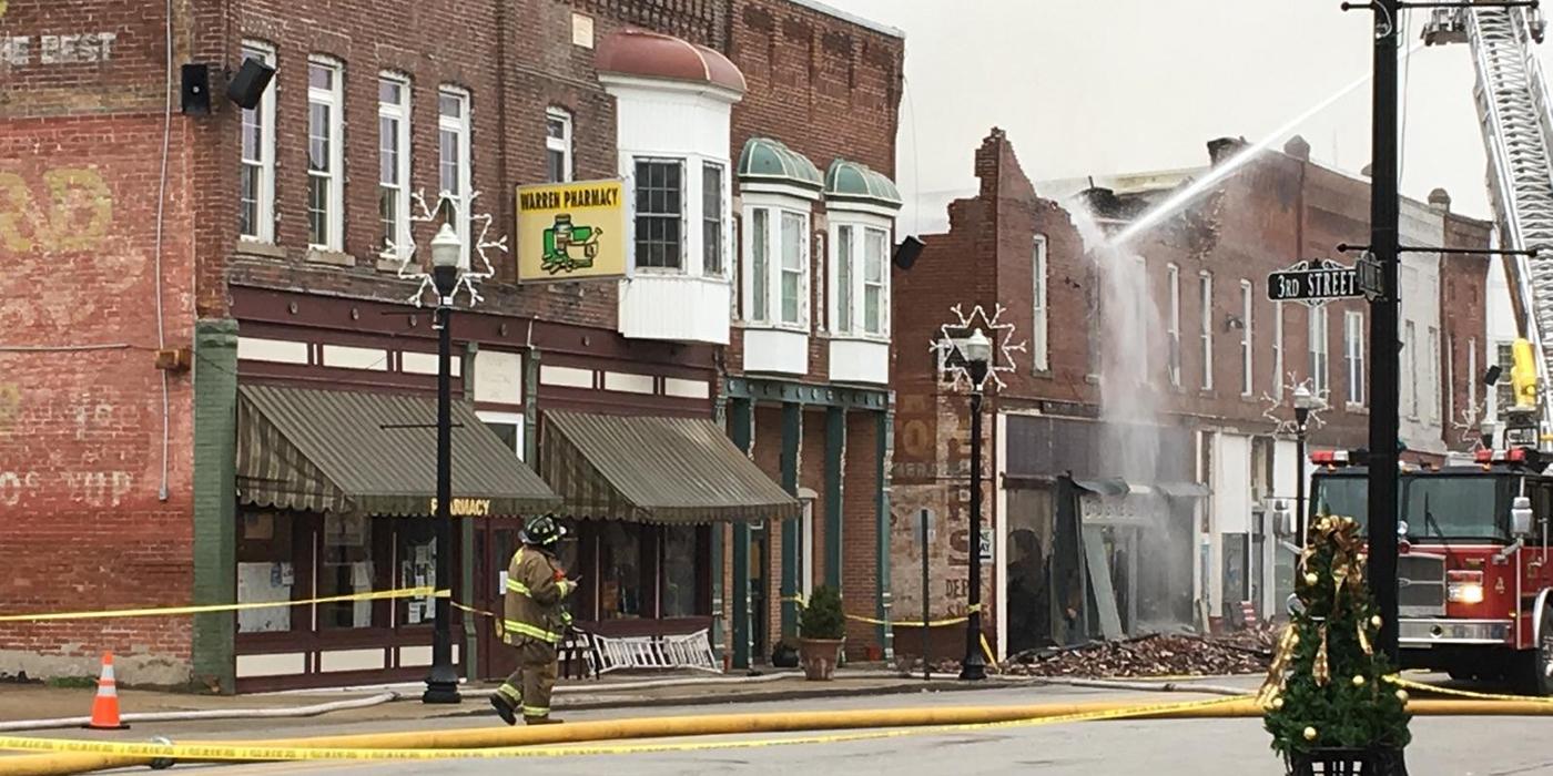 Fire in downtown Warren, Huntington County