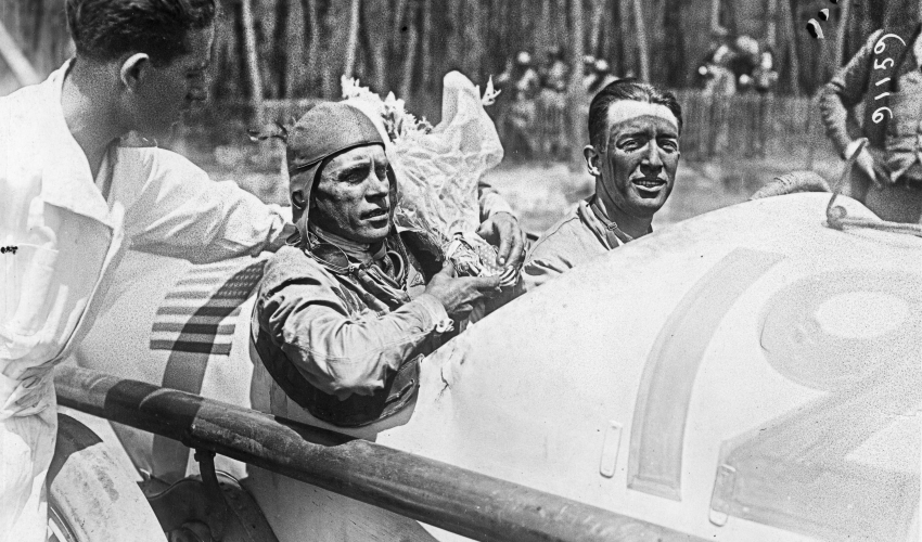 Jimmy Murphy driver and mechanic Ernie Olsen after winning French Grand Prix at LeMans - Auburn Cord Duesenberg Automobile Museum
