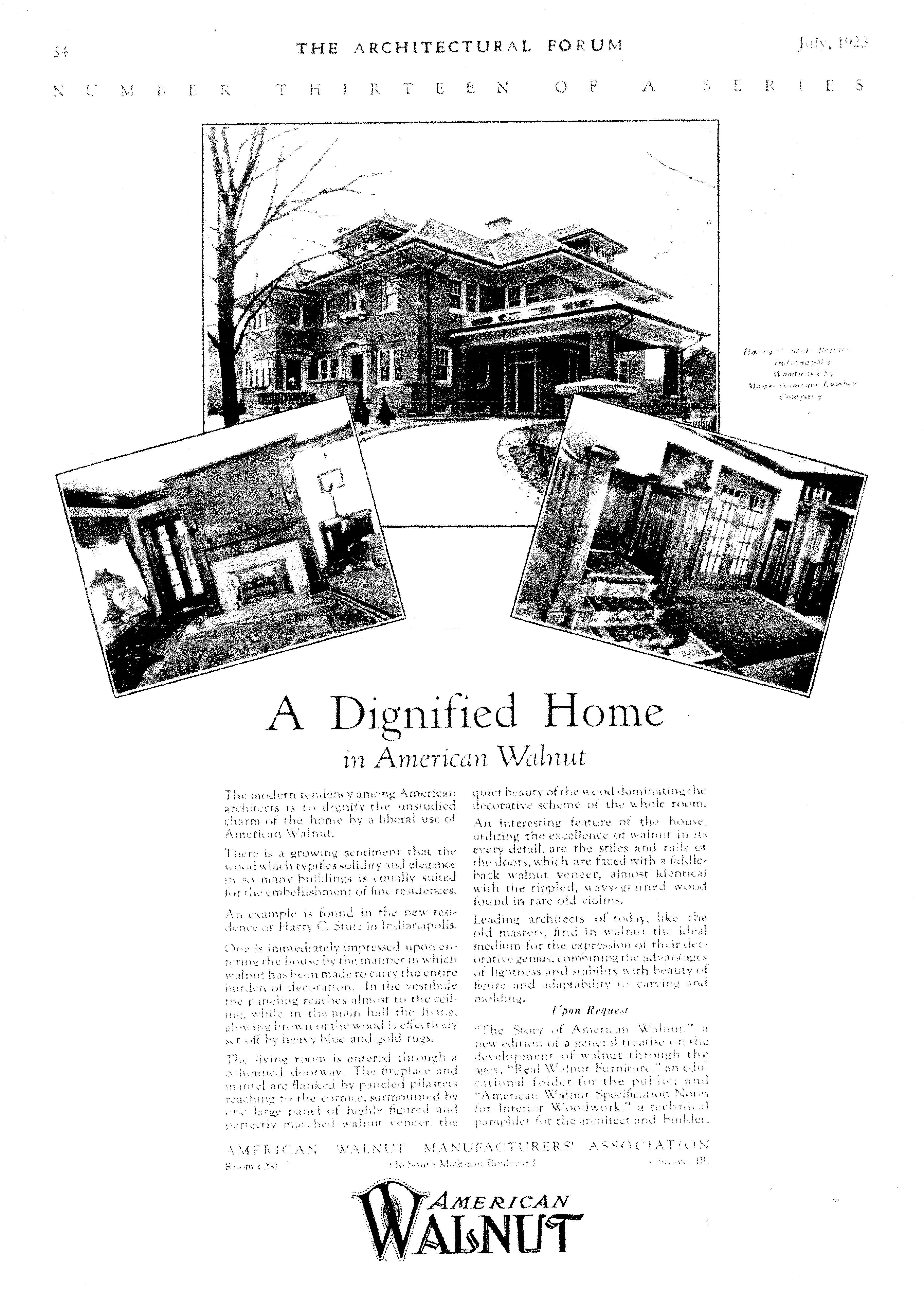 American Walnut Manufacturers' Association Ad, The Architectural Forum, July 1923