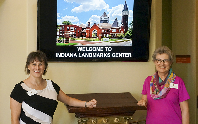 Special Events volunteers welcome visitors at the Indiana Landmarks Center.