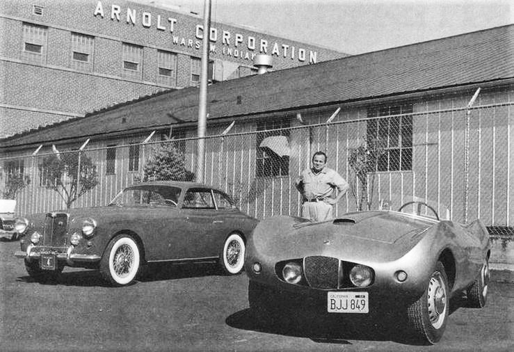 Arnolt building with Stanley Arnolt, Warsaw, 1956 - Courtesy of Hemmings